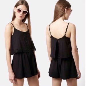 Topshop Lace Trim Overlay Black Knit Romper 2